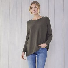 Asymmetric Hem Jumper | Jumpers | Knitwear | Clothing | The White Company UK