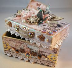 Box decorated with lot's of Prima products