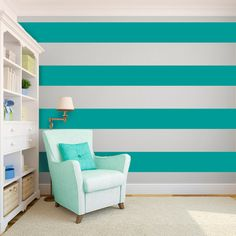 Horizontal stripes make small rooms feel bigger. Wall Stripes Wall Decal Custom Vinyl Art Stickers by danadecals, $7.00