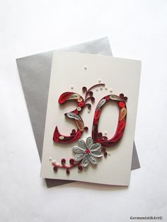 Happy 30th Anniversary Card, Blank Personalised Wedding Anniversary Card, 30th Birthday Card - pinned by pin4etsy.com