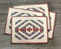 TEEPEE TRAILS Quilted Placemats Pattern Paper Pieced