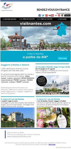 Il soffio dell'Oceano Atlantico e porta d'ingresso alla Valle della Loira. 22 voli settimanali regolari diretti tra Nantes e cinque importanti città italiane...