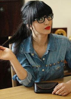 Another sophisticated look! Great glasses! #black rimmed glasses #red lipstick