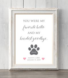 Items similar to Personalized pet memorial print. Loss of pet. You were our favorite hello and our hardest goodbye. All Prints BUY 2 GET 1 FREE! on Etsy Pet Loss Grief, Loss Of Dog, Souvenir Animal, You Are My Favorite, My Favorite Things, Pet Remembrance, Dog Memorial, Memorial Ideas, Pet Memorial Gifts