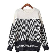 Yoins Yoins High-low Hem Zigzag Sweater ($23) ❤ liked on Polyvore featuring tops, sweaters, black, sweaters & cardigans, zig zag sweater, white sweater, white top, zig zag top and snug top