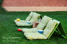 DIY backyard movie seats