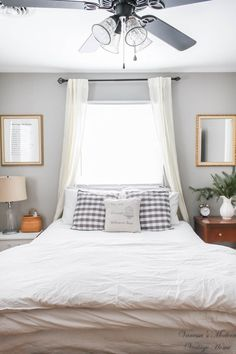 use curtains to form canopy over bed in front of windows! bed in front of window! Canopy window bed! farmhouse bed