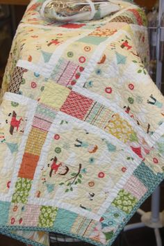 "Perhaps, eventually, I will try a quilt kit. This one is called, ""Fly a Kite"".  Love the fabric."