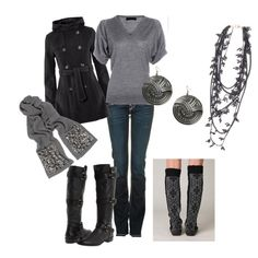Love the top and the jacket.  Not sold on the skinny jeans and boots thing. Not exactly great for my body type and the fact that every other girl I see is wearing this look...
