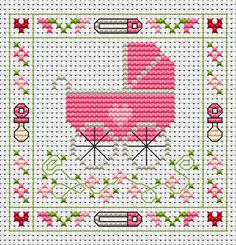 Pink Pram Card cross stitch kit