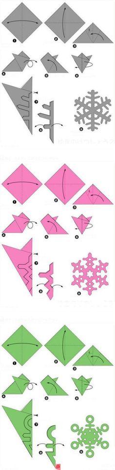 Как сделать снежинку из бумаги поэтапно?