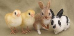 Make Needle Felted Animals | needle felted bunnies&chicks