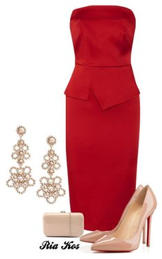 red dress by ria-kos on Polyvore featuring Roland Mouret, Christian Louboutin, Verali and Kate Spade