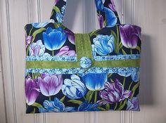 Blue Purple TULIPS purse floral tote bag handmade handbag Gr8 Mother's Day Gift