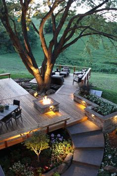 """Ultimate Decks for Outdoor Living - Town & Country Living - - When I say """"ultimate decks"""" I'm not strictly referring to outdoor living spaces with grandiose decks. I mean any deck that suits your needs! Fire Pit Backyard, Backyard Patio, Backyard Landscaping, Backyard Seating, Pergola Patio, Pergola Kits, Landscaping Ideas, Fence Design, Patio Design"""