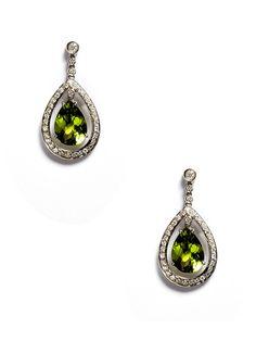 Peridot & Diamond Pear Drop Earrings by Vendoro on Gilt.com