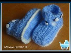 Пинетки-ботиночки с застежкой.Knitting baby booties - YouTube