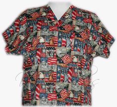 Patriotic Custom Nursing Scrub Tops Made for the Special You. - starts at $30.99