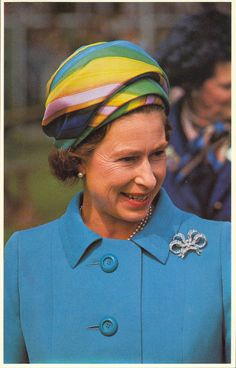 Even Queen Elizabeth II cottoned to the mod look in small ways, such as with this psychedelic turban-style hat she wore while on an International tour to Canada to meet Prime Minister Pierre Trudeau in July 1970.