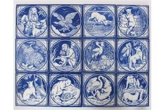 A set of twelve Minton's Aesop's Fables tiles designed by John Moyr Smith, printed in blue on a w