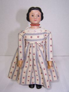 """Signed Artist Made Peg Jointed Carved Maple Wood 6 1 2"""" Hitty Doll by Janci 
