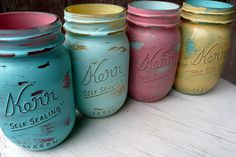 Hand Painted and Distressed Shabby Chic Mason Jar by BeachBlues. $16.00, via Etsy.