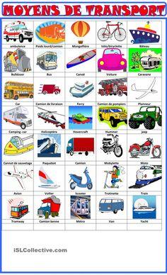 Vocab - Les moyens de transport