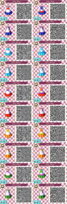 """bellawesom: """"I made QR codes for the first 5 sailor scouts from sailor moon!! feel free to use if you have acnl and im sure its been done before but meh whatever Sailor Moon belongs to Naoko Takeuchi..."""