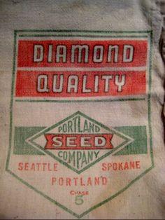Vintage Diamond Quality Portland Seed Company Bag. $6.99, via Etsy.