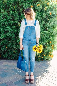 cropped overalls with white high collar cotton blouse and brown wedges