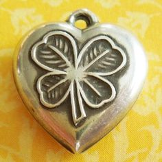 Vintage Good Luck 4-Leaf Clover Puffy Heart Sterling Silver Charm ~ Engraved Ella from A Genuine Find