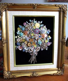Antique Vintage Costume Jewelry Christmas Tree Framed Art Flower Bouquet Wedding #CostumeJewelry