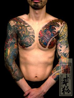 Japanese chest tattoo by Shige