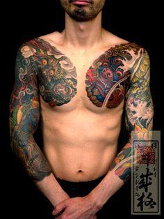 Japanese chest tattoo by Shige #Japanese #chest #tattoo #InkedMagazine #inked