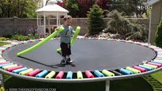 #7 Cut up pool noodles to keep kids from getting hurt on the trampoline springs.