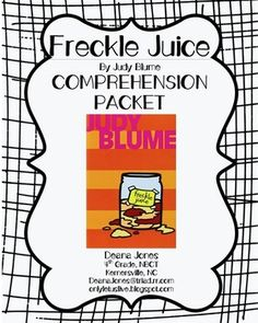Freckle Juice by Judy Blume FREE Comprehension Packet, higher level thinking questions, easy-to-use, printable, Common Core aligned