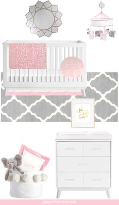 Pink and Gray Nursery Design Board - A gray and pink color scheme will seriously NEVER go out of style! See how we styled it in the nursery with @justbornforbaby's Dream Collection. Ad