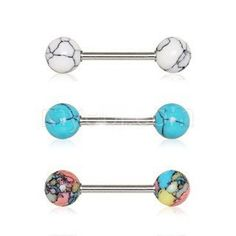 • 316L Stainless Steel nipple bar set with colorful synthetic stones • Lively colored stones look and feel like natural stones • Light weight and comfortable for an extended wear • Set available in 3