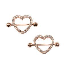 Nipple Ring piercing shield  14ga Ion Plated Rose Gold with CZ Gems 1Pair