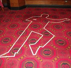 """Tape """"chalk"""" outline on the carpet for a decoration and then maybe do chalk outlines of the kids on the sidewalk for a party activity"""