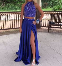 Purple sequin chiffon two pieces long prom dress for teens, formal dress, modest prom dress long