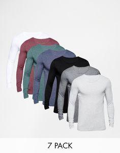 Muskelshirt T-Shirt von ASOS sehr elastischer Jerseystoff Rundhalsausschnitt eng geschnittene Ärmel sitzt eng am Körper superenge Passform Maschinenwäsche 100% Baumwolle Unser Model trägt Größe M und ist 185,5 cm/6 Fuß, 1 Zoll groß Siebener-Packung