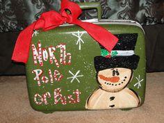 Trashy Treasures - Frosty Luggage Christmas Chair, Christmas Signs Wood, Christmas Tree Farm, Christmas Scenes, Primitive Christmas, Christmas Snowman, All Things Christmas, Christmas Holidays, Christmas Decorations