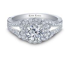 Kirk Kara Pirouetta Halo Split Shank Engagement Ring Featuring 0.54 Carats of diamonds in 18kt White Gold.