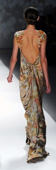 Floral printed gown, Shanghai Inspired Glamorous Collection by Tadashi Shoji Fall 2012 at New York Fashion Week