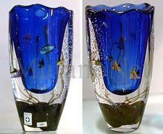 Cobalt blue aquarium Murano glass vase.
