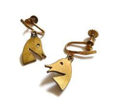 Peggy Miller Modernist Horse Head Earrings by mascarajones on Etsy, $75.00