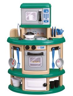 The maker of this cute little kitchen is called American Plastic Toys.toys made in America! Check out their site's corporate info if you want to buy American. They even sell at Walmart. Childrens Play Kitchen, Kids Toy Kitchen, Kitchen Playsets, Pretend Kitchen, Play Kitchen Sets, Play Kitchens, Kitchen Ideas, Kidkraft Vintage Kitchen, Toy Kitchen Accessories