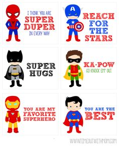 FREE Printable Superhero Lunch Box Notes from www.timeoutwithmo… FREE Printable Superhero Lunch Box Notes from www. Kids Lunch Box Notes, Kids Lunch For School, Back To School, School Lunches, Box Lunches, School Ideas, Toddler Meals, Kids Meals, Little Lunch