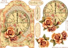 Vintage Roses and Clock Screen Card on Craftsuprint designed by Karen Adair - This is a screen shaped card front with a beautiful vintage clock and Roses. Decoupage and three sentiment tags are included, one tag left blank. If you like this check out my other designs, just click on my name. - Now available for download!